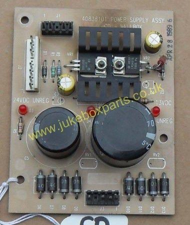 Rowe-AMI CD Wall Box Power Supply PCB 40838101 (CD33A)
