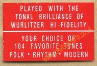 Wurlitzer Display Card Red (JP562)