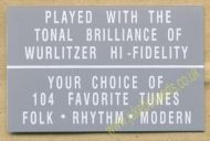 Wurlitzer Display Card Grey (JP563)