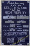Seeburg 100J Aluminium Identification Plate (JP580)