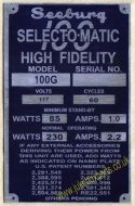 Seeburg 100G Aluminium Identification Plate (JP581)