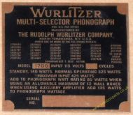Wurlitzer 1700 Copper Identification Plate (JP597)