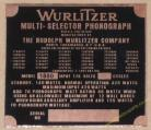 Wurlitzer 1800 Copper Identification Plate (JP598)