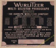 Wurlitzer 1900 Copper Identification Plate (JP599)