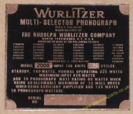 Wurlitzer 2000 Copper Identification Plate (JP600)