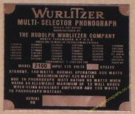 Wurlitzer 2100 Copper Identification Plate (JP601)