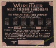 Wurlitzer 2104 Copper Identification Plate (JP602)
